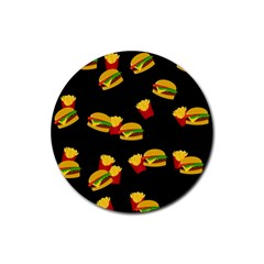 Hamburgers And French Fries Pattern Rubber Round Coaster (4 Pack)  by Valentinaart
