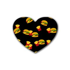Hamburgers And French Fries Pattern Rubber Coaster (heart)  by Valentinaart