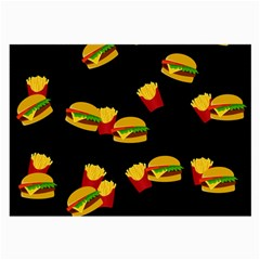 Hamburgers And French Fries Pattern Large Glasses Cloth (2 Side) by Valentinaart
