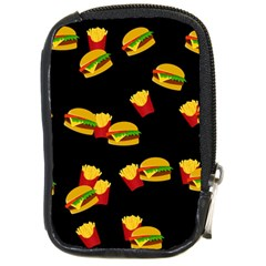 Hamburgers And French Fries Pattern Compact Camera Cases by Valentinaart
