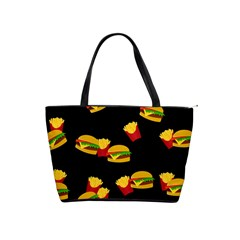 Hamburgers And French Fries Pattern Shoulder Handbags by Valentinaart