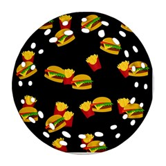 Hamburgers And French Fries Pattern Ornament (round Filigree)