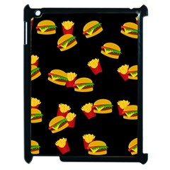 Hamburgers And French Fries Pattern Apple Ipad 2 Case (black) by Valentinaart
