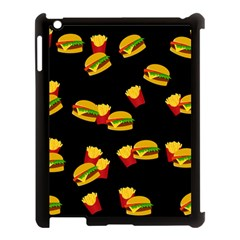 Hamburgers And French Fries Pattern Apple Ipad 3/4 Case (black) by Valentinaart