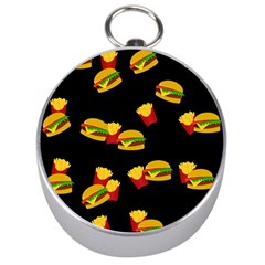 Hamburgers And French Fries Pattern Silver Compasses by Valentinaart