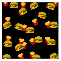 Hamburgers And French Fries Pattern Large Satin Scarf (square) by Valentinaart