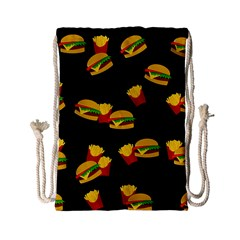 Hamburgers And French Fries Pattern Drawstring Bag (small) by Valentinaart
