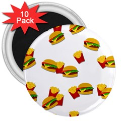 Hamburgers And French Fries  3  Magnets (10 Pack)  by Valentinaart