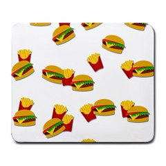Hamburgers And French Fries  Large Mousepads by Valentinaart
