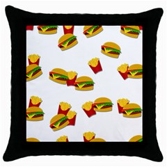 Hamburgers And French Fries  Throw Pillow Case (black) by Valentinaart