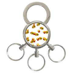 Hamburgers And French Fries  3 Ring Key Chains by Valentinaart