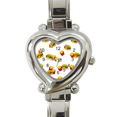 Hamburgers And French Fries  Heart Italian Charm Watch by Valentinaart
