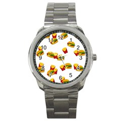 Hamburgers And French Fries  Sport Metal Watch by Valentinaart