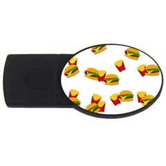 Hamburgers And French Fries  Usb Flash Drive Oval (4 Gb) by Valentinaart