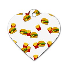 Hamburgers And French Fries  Dog Tag Heart (one Side)