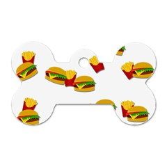 Hamburgers And French Fries  Dog Tag Bone (one Side) by Valentinaart