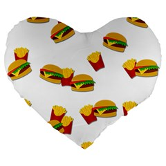 Hamburgers And French Fries  Large 19  Premium Flano Heart Shape Cushions by Valentinaart