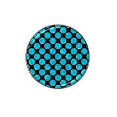 Circles2 Black Marble & Turquoise Marble Hat Clip Ball Marker by trendistuff