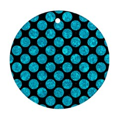 Circles2 Black Marble & Turquoise Marble Round Ornament (two Sides) by trendistuff