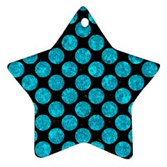 Circles2 Black Marble & Turquoise Marble Star Ornament (two Sides)