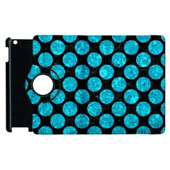 Circles2 Black Marble & Turquoise Marble Apple Ipad 2 Flip 360 Case