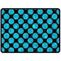 Circles2 Black Marble & Turquoise Marble Double Sided Fleece Blanket (large) by trendistuff