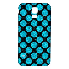 Circles2 Black Marble & Turquoise Marble Samsung Galaxy S5 Back Case (white) by trendistuff
