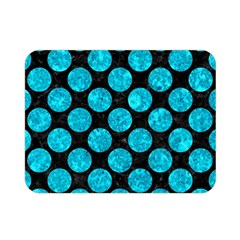 Circles2 Black Marble & Turquoise Marble Double Sided Flano Blanket (mini) by trendistuff