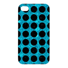 Circles1 Black Marble & Turquoise Marble (r) Apple Iphone 4/4s Hardshell Case by trendistuff