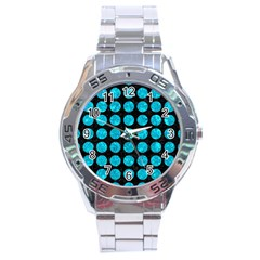 Circles1 Black Marble & Turquoise Marble Stainless Steel Analogue Watch by trendistuff