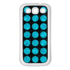 Circles1 Black Marble & Turquoise Marble Samsung Galaxy S3 Back Case (white) by trendistuff