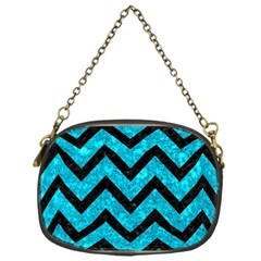 Chevron9 Black Marble & Turquoise Marble (r) Chain Purse (one Side) by trendistuff