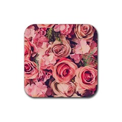 Beautiful Pink Roses Rubber Coaster (square)  by Brittlevirginclothing
