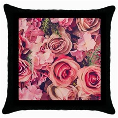 Beautiful Pink Roses Throw Pillow Case (black) by Brittlevirginclothing
