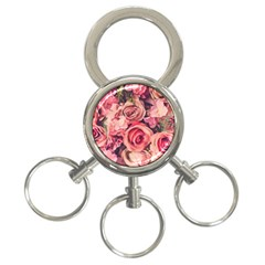 Beautiful Pink Roses 3 Ring Key Chains by Brittlevirginclothing