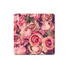 Beautiful Pink Roses Square Magnet by Brittlevirginclothing