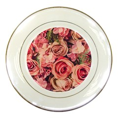 Beautiful Pink Roses Porcelain Plates by Brittlevirginclothing