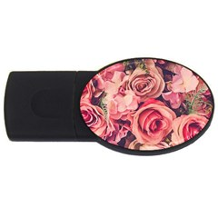 Beautiful Pink Roses Usb Flash Drive Oval (4 Gb) by Brittlevirginclothing