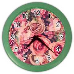 Beautiful Pink Roses Color Wall Clocks by Brittlevirginclothing