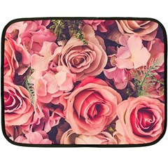Beautiful Pink Roses Double Sided Fleece Blanket (mini)  by Brittlevirginclothing