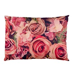Beautiful Pink Roses Pillow Case (two Sides) by Brittlevirginclothing