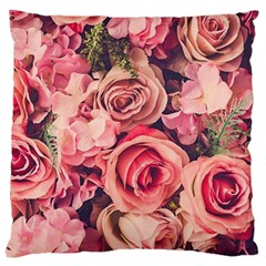 Beautiful Pink Roses Large Flano Cushion Case (one Side) by Brittlevirginclothing