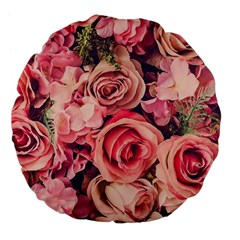 Beautiful Pink Roses Large 18  Premium Flano Round Cushions by Brittlevirginclothing