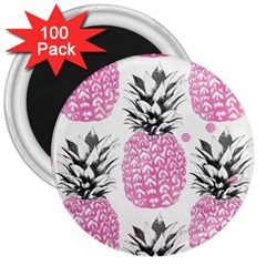 Pink Pineapple 3  Magnets (100 Pack) by Brittlevirginclothing
