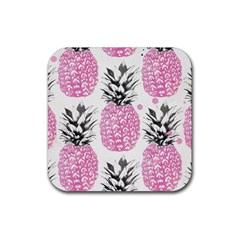 Pink Pineapple Rubber Square Coaster (4 Pack)  by Brittlevirginclothing