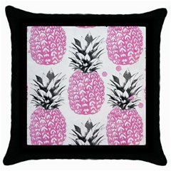 Pink Pineapple Throw Pillow Case (black) by Brittlevirginclothing