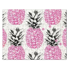 Pink Pineapple Rectangular Jigsaw Puzzl by Brittlevirginclothing