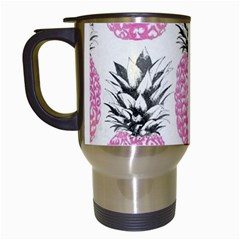 Pink Pineapple Travel Mugs (white) by Brittlevirginclothing