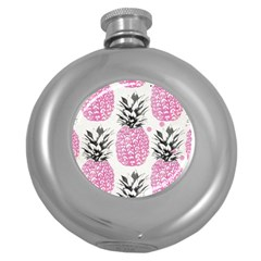 Pink Pineapple Round Hip Flask (5 Oz) by Brittlevirginclothing