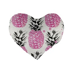 Pink Pineapple Standard 16  Premium Heart Shape Cushions by Brittlevirginclothing